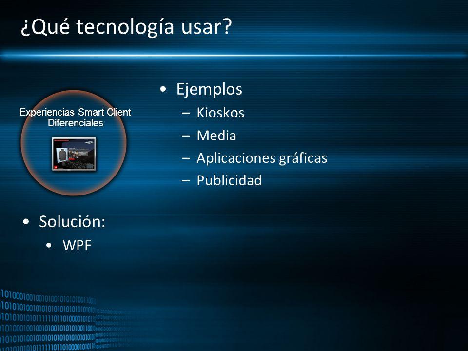 Experiencias Smart Client Diferenciales ¿Qué tecnología usar? Ejemplos –Kioskos –Media –Aplicaciones gráficas –Publicidad Solución: WPF
