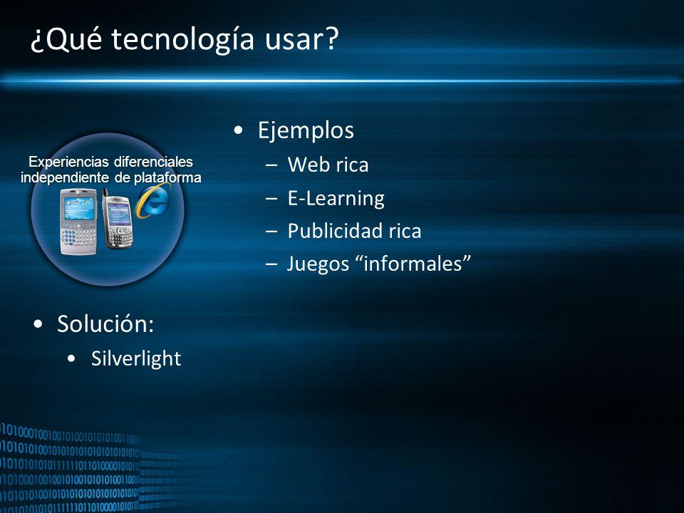Experiencias diferenciales independiente de plataforma ¿Qué tecnología usar? Ejemplos –Web rica –E-Learning –Publicidad rica –Juegos informales Soluci