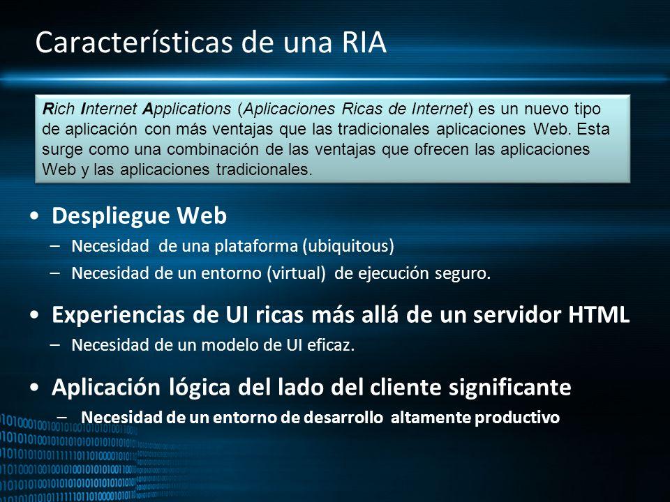 Características de una RIA Despliegue Web –Necesidad de una plataforma (ubiquitous) –Necesidad de un entorno (virtual) de ejecución seguro. Experienci