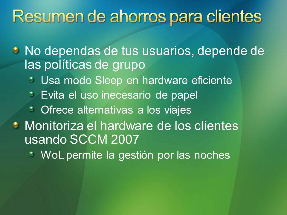 No dependas de tus usuarios, depende de las políticas de grupo Usa modo Sleep en hardware eficiente Evita el uso inecesario de papel Ofrece alternativas a los viajes Monitoriza el hardware de los clientes usando SCCM 2007 WoL permite la gestión por las noches