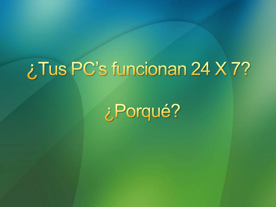 Idle (W) Sleep(W)Savings (W) PC Pentium IV 67,3 3,364,0 Monitores CRT 17 61,2 1,859,4 Monitores LCD 17 35,3 2,333,0 Horas totales anuales: 24h x 365= 8,760 h Horas de operación anuales: 10h x 5 x 52 weeks= 2,600 h Hora inactivas anuales: 8,760 h – 2,600 h= 6,160 h Potential energy savings Idle vs.