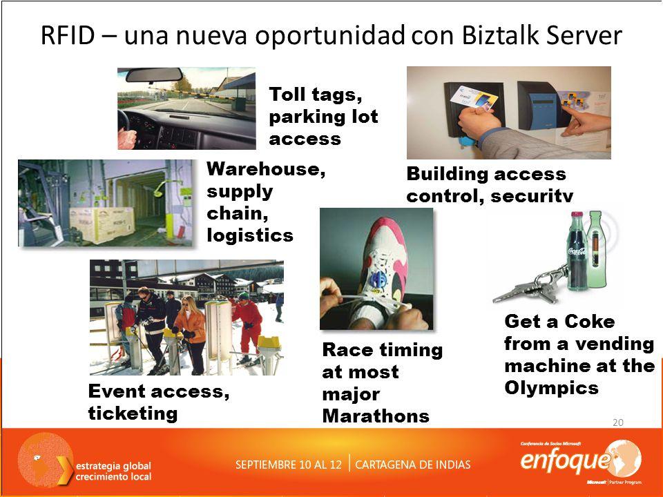 20 RFID – una nueva oportunidad con Biztalk Server Toll tags, parking lot access Building access control, security Warehouse, supply chain, logistics