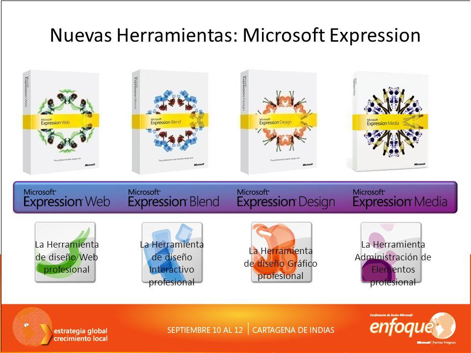 Nuevas Herramientas: Microsoft Expression La Herramienta de diseño Web profesional La Herramienta de diseño Interactivo profesional La Herramienta de