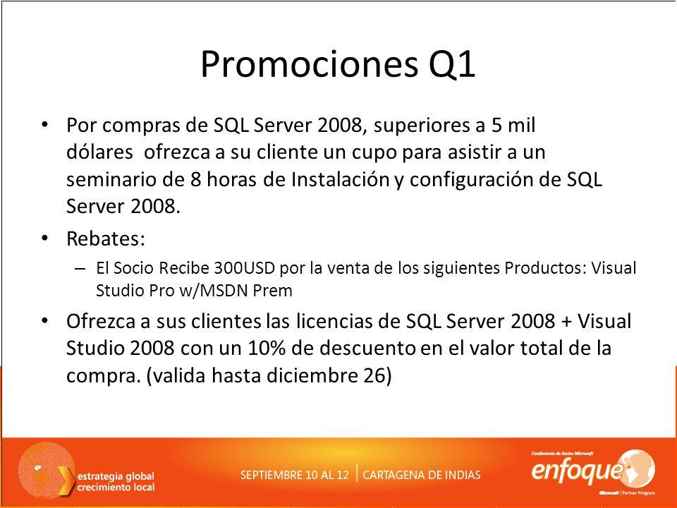 Promociones Q1 Por compras de SQL Server 2008, superiores a 5 mil dólares ofrezca a su cliente un cupo para asistir a un seminario de 8 horas de Insta