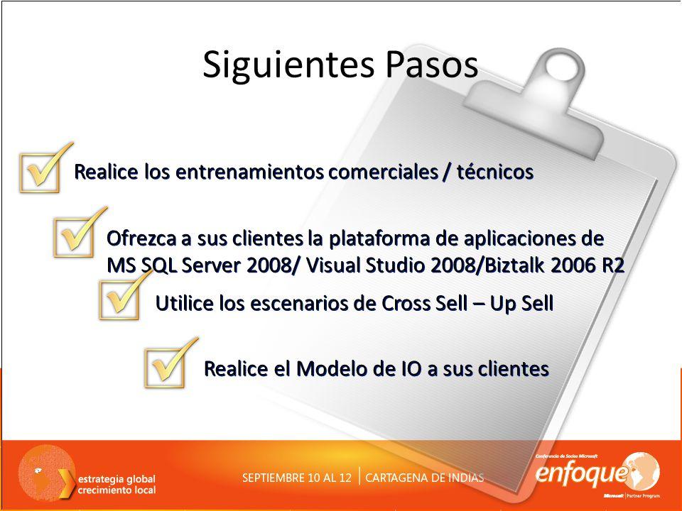 Siguientes Pasos Realice el Modelo de IO a sus clientes Ofrezca a sus clientes la plataforma de aplicaciones de MS SQL Server 2008/ Visual Studio 2008