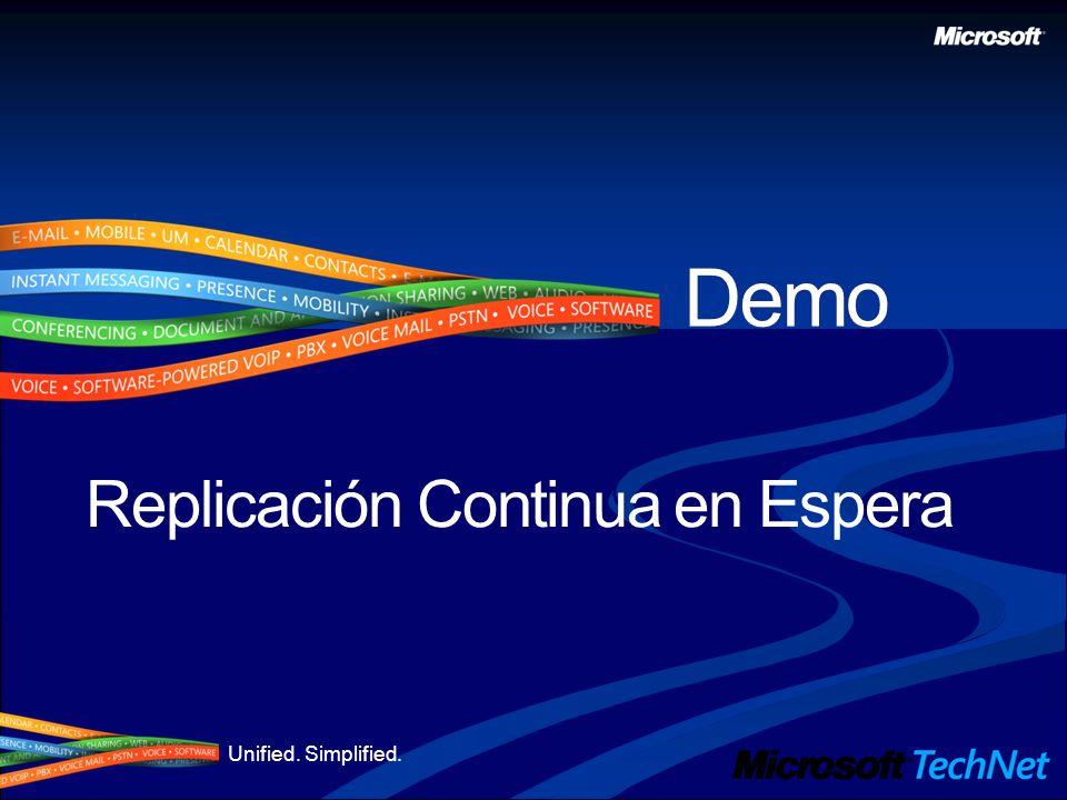 Unified. Simplified. Replicación Continua en Espera