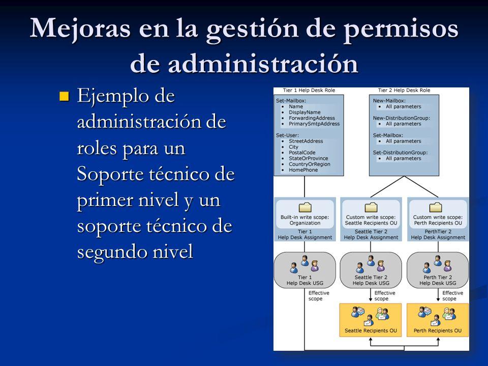 Mejoras en la gestión de permisos de administración Ejemplo de administración de roles para un Soporte técnico de primer nivel y un soporte técnico de