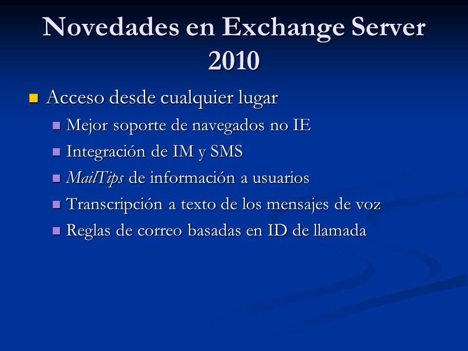 Novedades en Exchange Server 2010 Acceso desde cualquier lugar Acceso desde cualquier lugar Mejor soporte de navegados no IE Mejor soporte de navegado