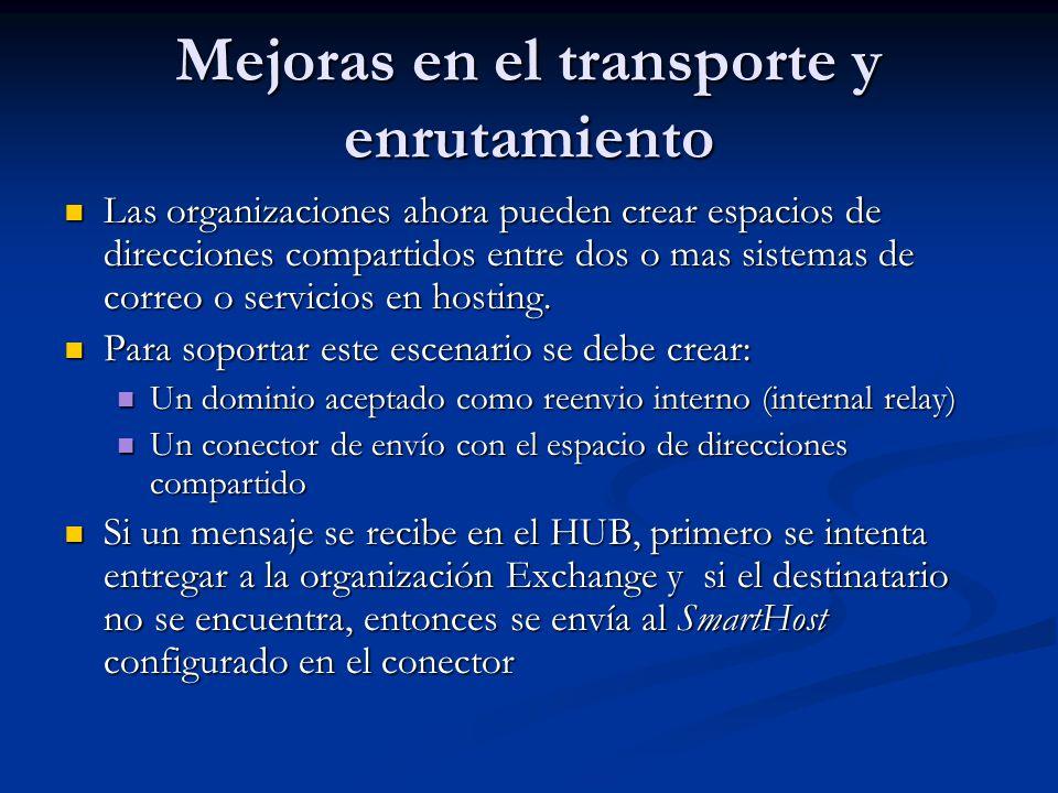 Mejoras en el transporte y enrutamiento Dominio de retransmisión interna Dominio de retransmisión interna