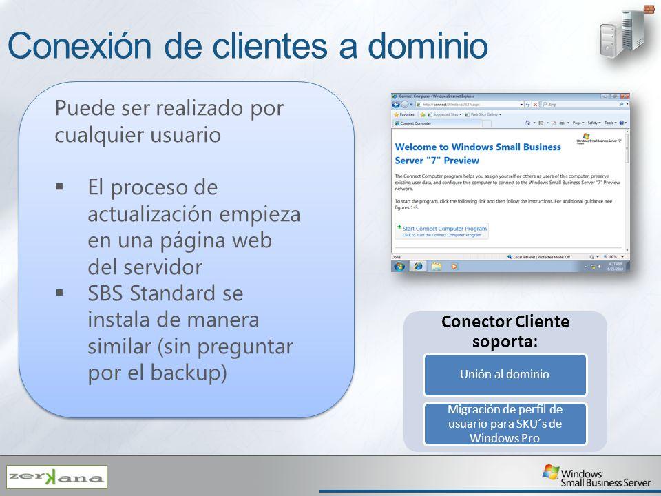 Conexión de clientes a dominio Puede ser realizado por cualquier usuario El proceso de actualización empieza en una página web del servidor SBS Standa