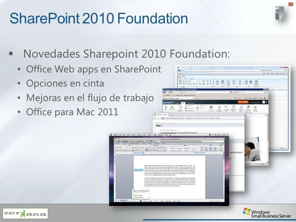 SharePoint 2010 Foundation Novedades Sharepoint 2010 Foundation: Office Web apps en SharePoint Opciones en cinta Mejoras en el flujo de trabajo Office
