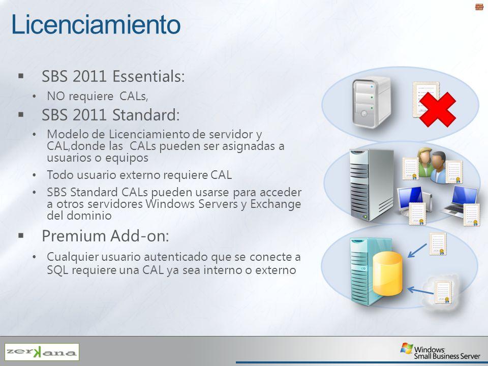 Licenciamiento SBS 2011 Essentials: NO requiere CALs, SBS 2011 Standard: Modelo de Licenciamiento de servidor y CAL,donde las CALs pueden ser asignada