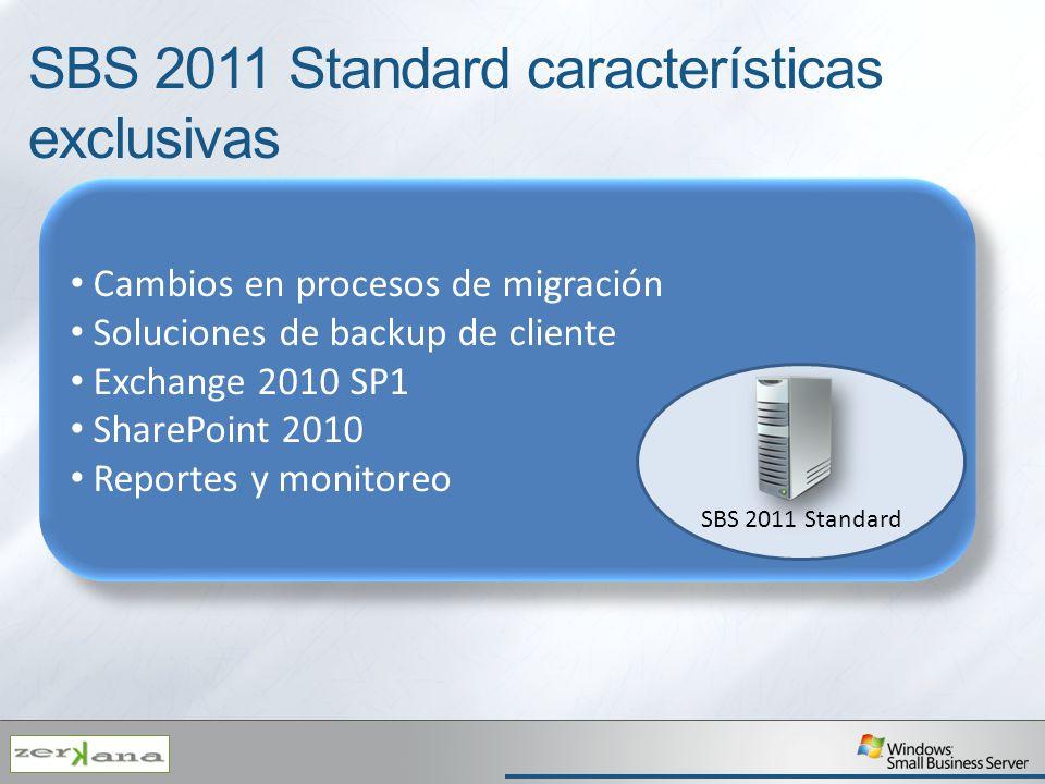 Cambios en procesos de migración Soluciones de backup de cliente Exchange 2010 SP1 SharePoint 2010 Reportes y monitoreo Cambios en procesos de migraci