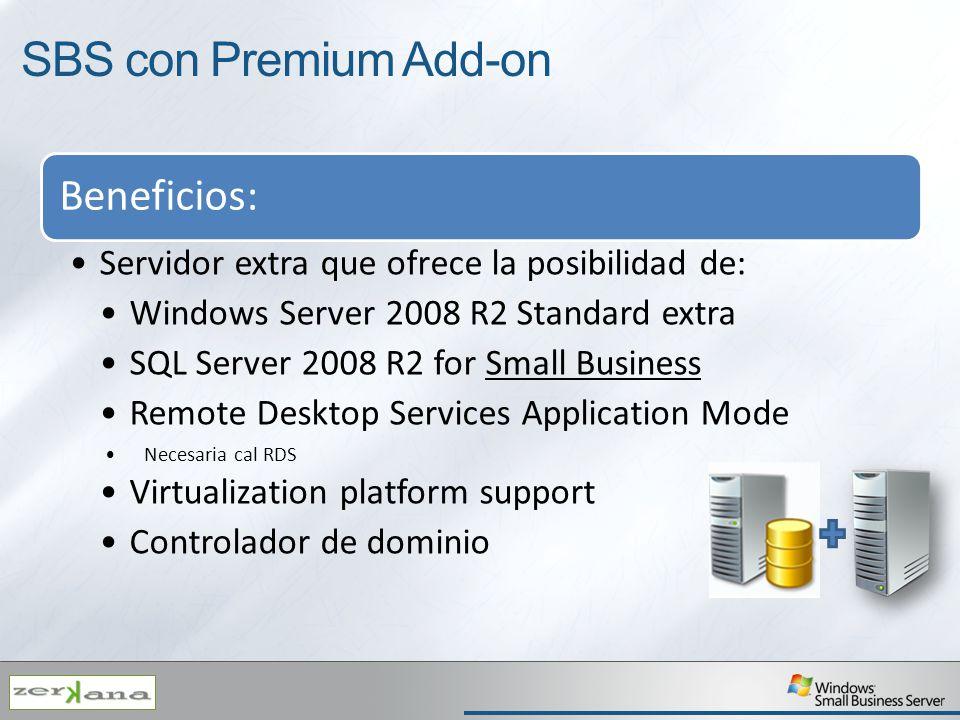 SBS con Premium Add-on Beneficios: Servidor extra que ofrece la posibilidad de: Windows Server 2008 R2 Standard extra SQL Server 2008 R2 for Small Bus