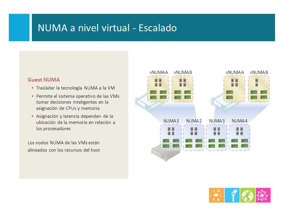 vNUMA AvNUMA BvNUMA AvNUMA B NUMA 1NUMA 2NUMA 3NUMA 4 NUMA a nivel virtual - Escalado Guest NUMA Trasladar la tecnología NUMA a la VM Permite al siste