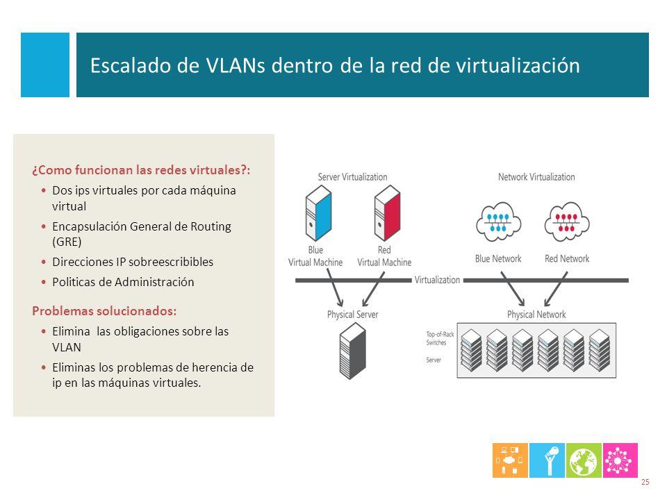 Escalado de VLANs dentro de la red de virtualización ¿Como funcionan las redes virtuales?: Dos ips virtuales por cada máquina virtual Encapsulación Ge