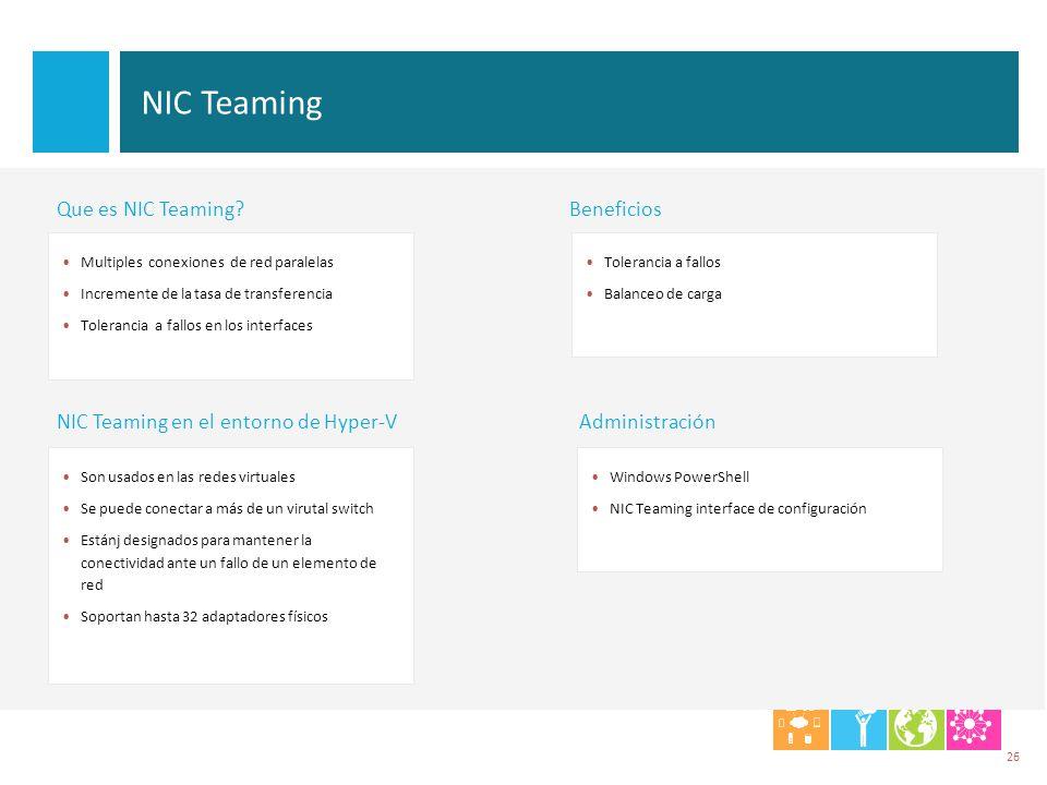 NIC Teaming Son usados en las redes virtuales Se puede conectar a más de un virutal switch Estánj designados para mantener la conectividad ante un fal