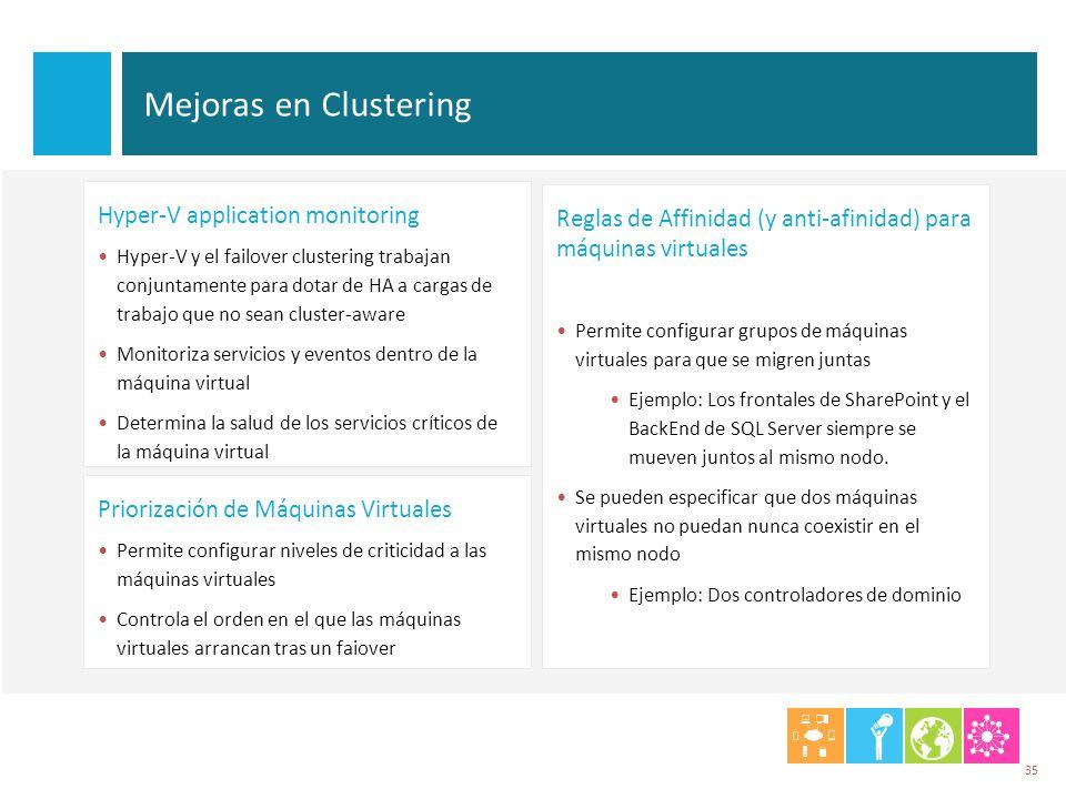 Mejoras en Clustering 35 Reglas de Affinidad (y anti-afinidad) para máquinas virtuales Permite configurar grupos de máquinas virtuales para que se mig