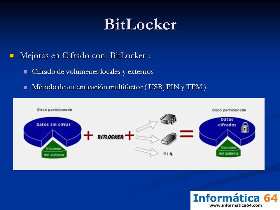 BitLocker Mejoras en Cifrado con BitLocker : Mejoras en Cifrado con BitLocker : Cifrado de volúmenes locales y externos Cifrado de volúmenes locales y