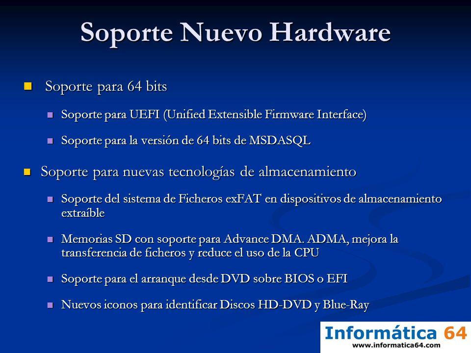 Soporte Nuevo Hardware Soporte para 64 bits Soporte para 64 bits Soporte para UEFI (Unified Extensible Firmware Interface) Soporte para UEFI (Unified