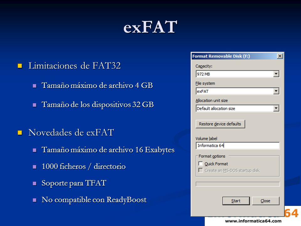 exFAT Limitaciones de FAT32 Limitaciones de FAT32 Tamaño máximo de archivo 4 GB Tamaño máximo de archivo 4 GB Tamaño de los dispositivos 32 GB Tamaño