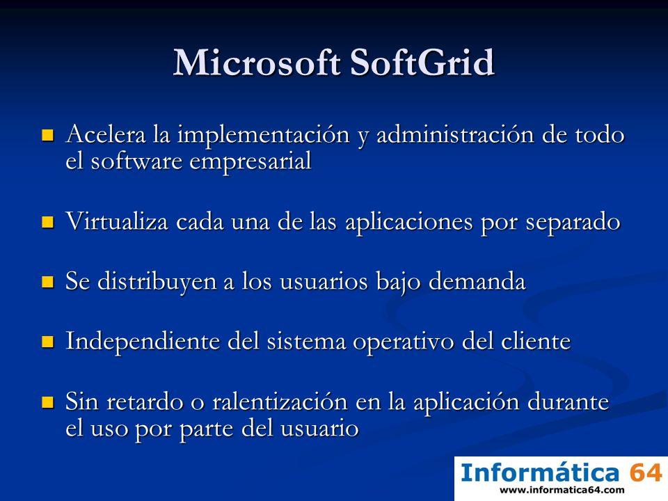 Microsoft SoftGrid Acelera la implementación y administración de todo el software empresarial Acelera la implementación y administración de todo el so