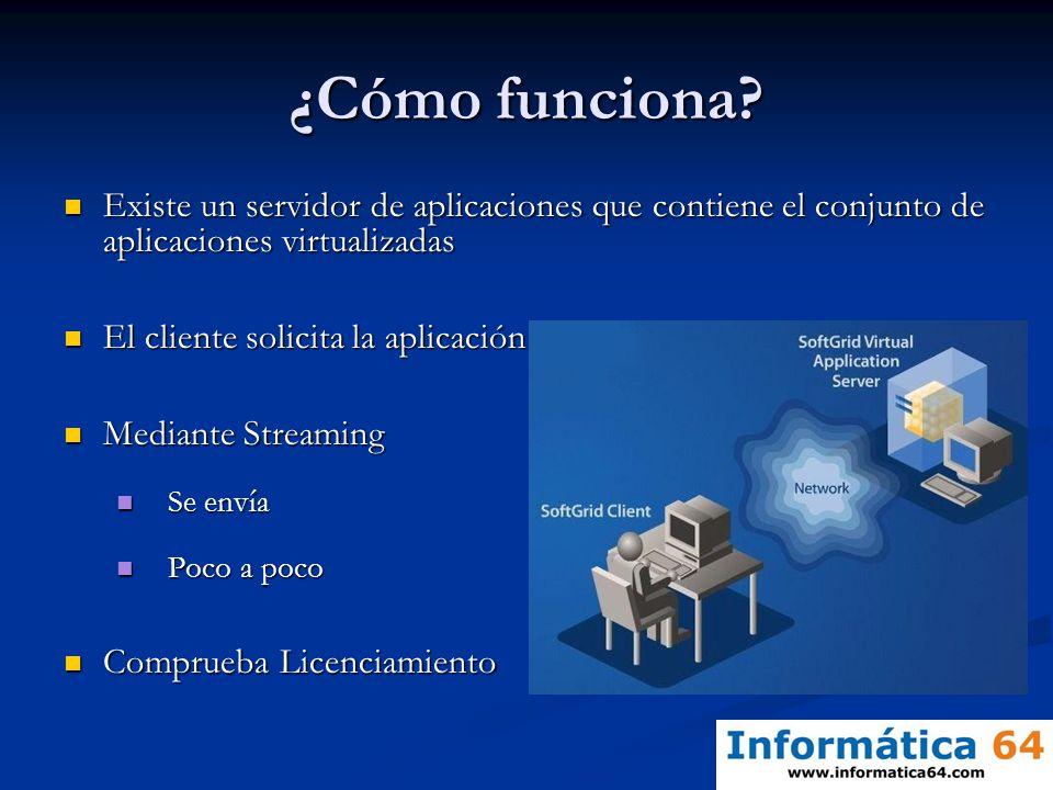 ¿Cómo funciona? Existe un servidor de aplicaciones que contiene el conjunto de aplicaciones virtualizadas Existe un servidor de aplicaciones que conti