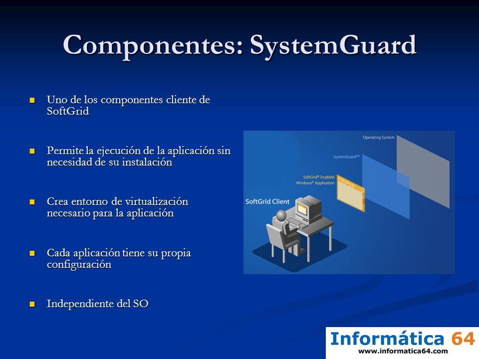 Componentes: SystemGuard Uno de los componentes cliente de SoftGrid Uno de los componentes cliente de SoftGrid Permite la ejecución de la aplicación s