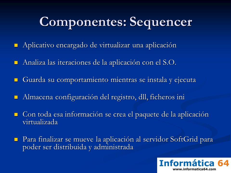 Componentes: Sequencer Aplicativo encargado de virtualizar una aplicación Aplicativo encargado de virtualizar una aplicación Analiza las iteraciones d