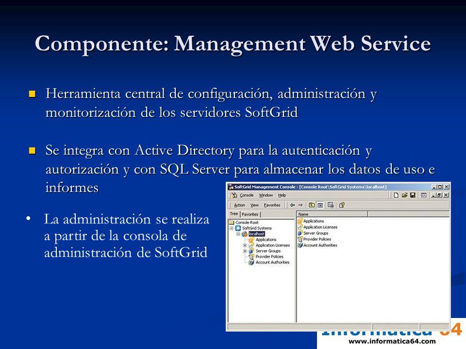 Componente: Management Web Service Herramienta central de configuración, administración y monitorización de los servidores SoftGrid Herramienta centra