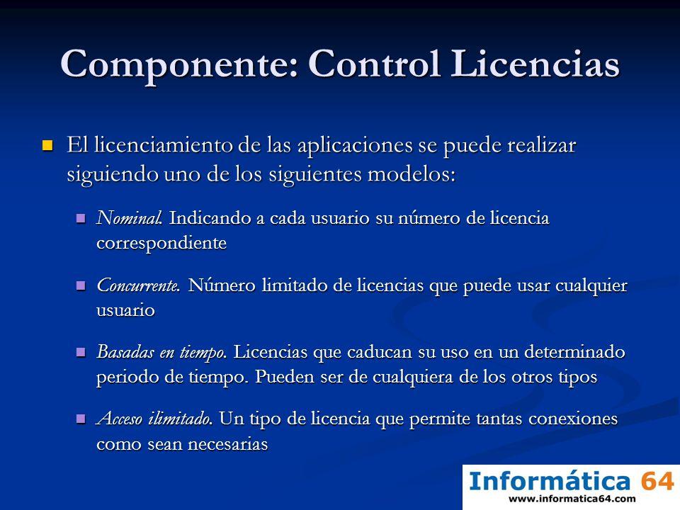 Componente: Control Licencias El licenciamiento de las aplicaciones se puede realizar siguiendo uno de los siguientes modelos: El licenciamiento de la
