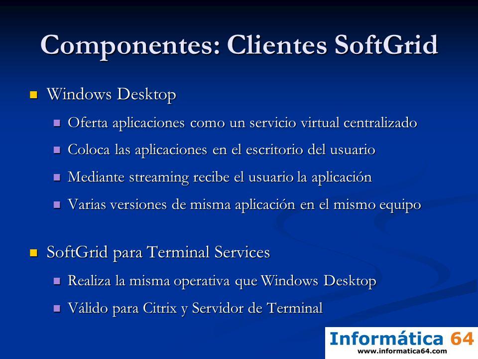 Componentes: Clientes SoftGrid Windows Desktop Windows Desktop Oferta aplicaciones como un servicio virtual centralizado Oferta aplicaciones como un s