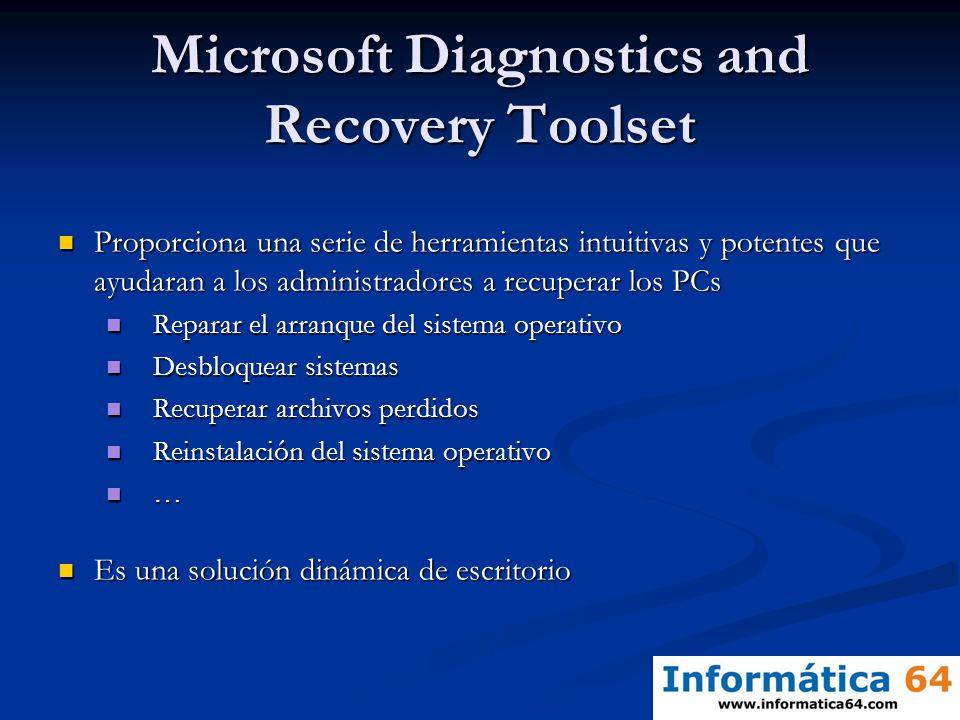 Microsoft Diagnostics and Recovery Toolset Proporciona una serie de herramientas intuitivas y potentes que ayudaran a los administradores a recuperar