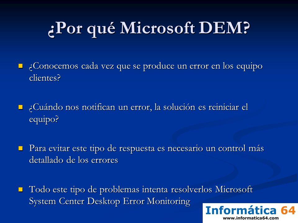 ¿Por qué Microsoft DEM? ¿Conocemos cada vez que se produce un error en los equipo clientes? ¿Conocemos cada vez que se produce un error en los equipo