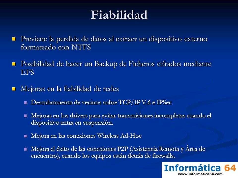 Fiabilidad Previene la perdida de datos al extraer un dispositivo externo formateado con NTFS Previene la perdida de datos al extraer un dispositivo e