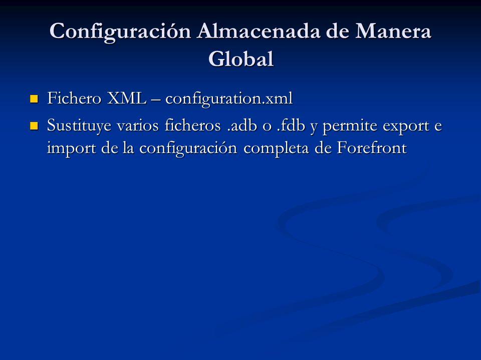 Configuración Almacenada de Manera Global Fichero XML – configuration.xml Fichero XML – configuration.xml Sustituye varios ficheros.adb o.fdb y permite export e import de la configuración completa de Forefront Sustituye varios ficheros.adb o.fdb y permite export e import de la configuración completa de Forefront