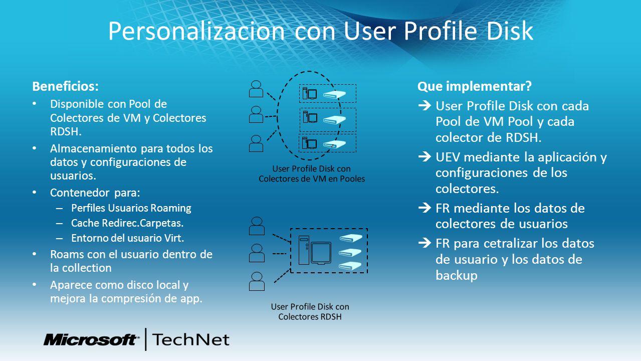Personalizacion con User Profile Disk Beneficios: Disponible con Pool de Colectores de VM y Colectores RDSH. Almacenamiento para todos los datos y con