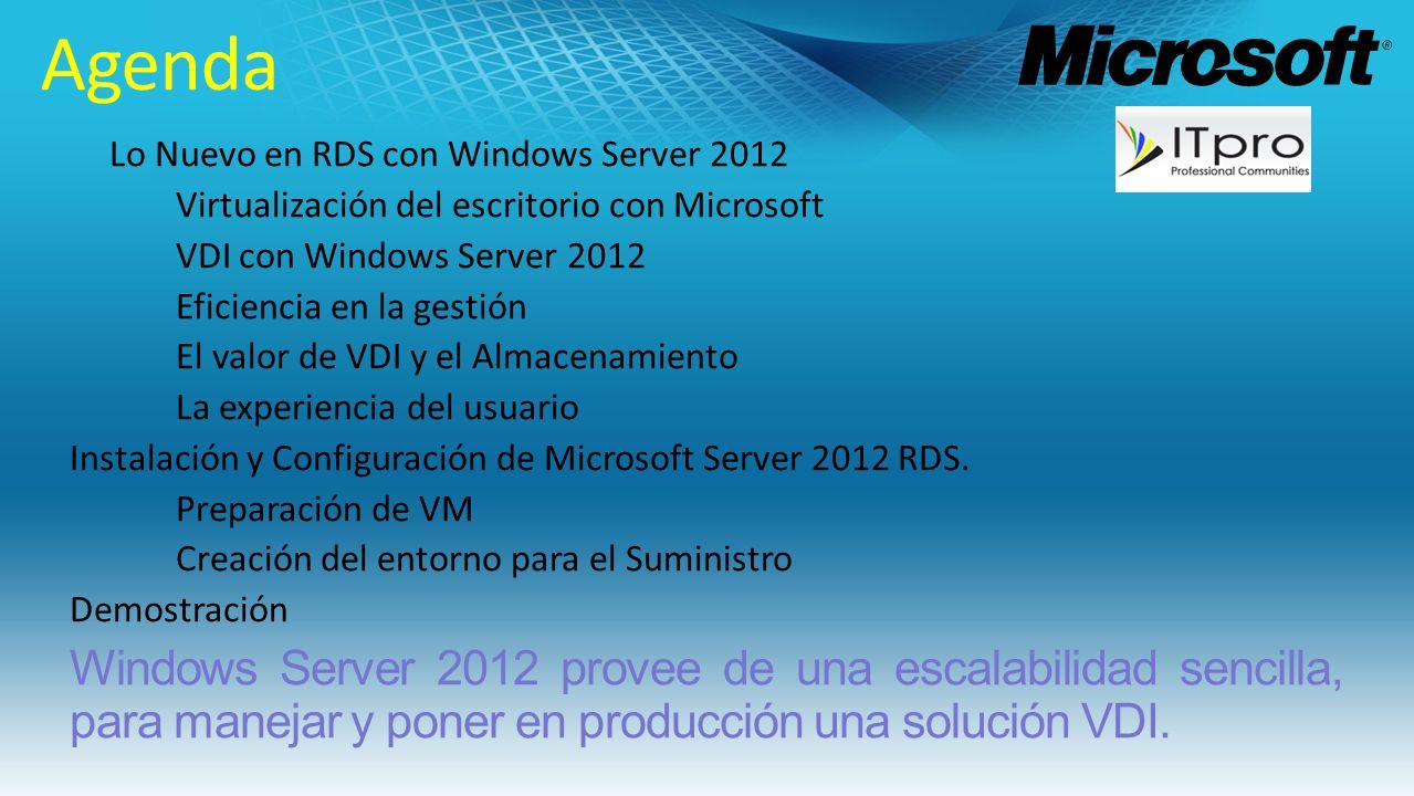 Lo Nuevo en RDS con Windows Server 2012 Virtualización del escritorio con Microsoft VDI con Windows Server 2012 Eficiencia en la gestión El valor de V