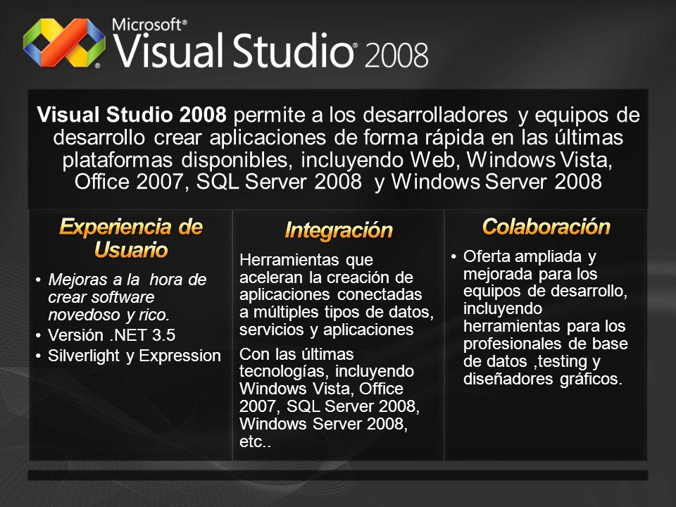 Visual Studio 2008 permite a los desarrolladores y equipos de desarrollo crear aplicaciones de forma rápida en las últimas plataformas disponibles, in
