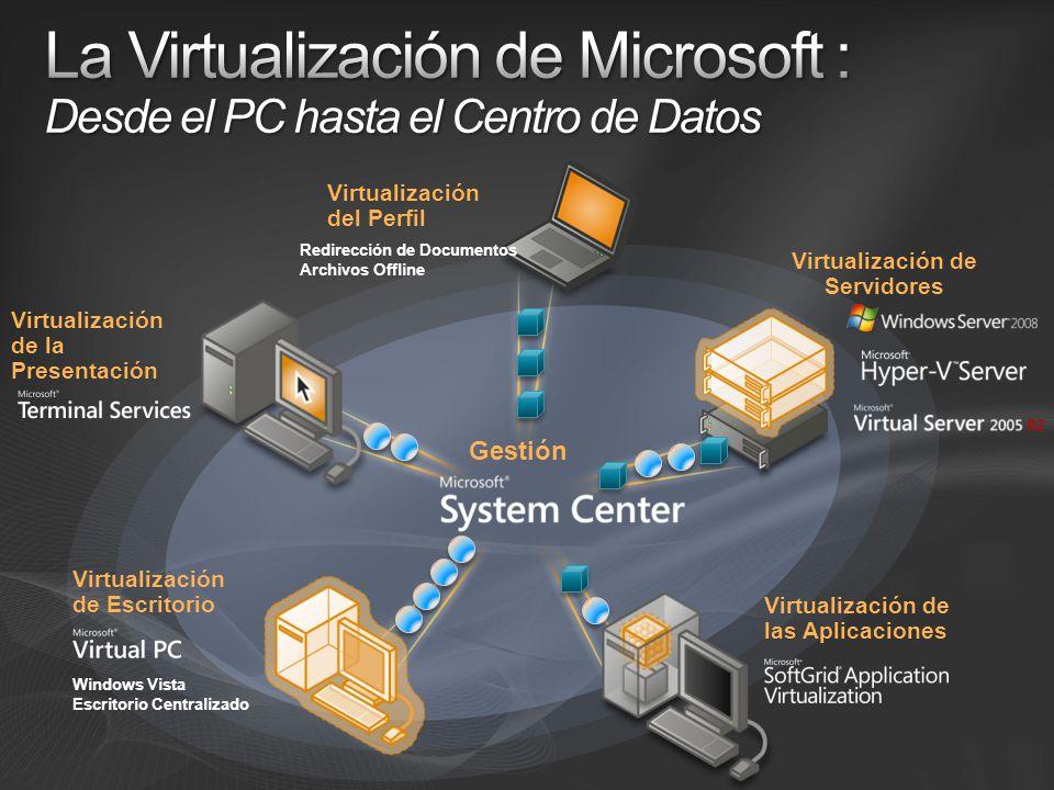 Virtualización de Servidores Virtualización de las Aplicaciones Virtualización de Escritorio Virtualización de la Presentación Gestión Virtualización