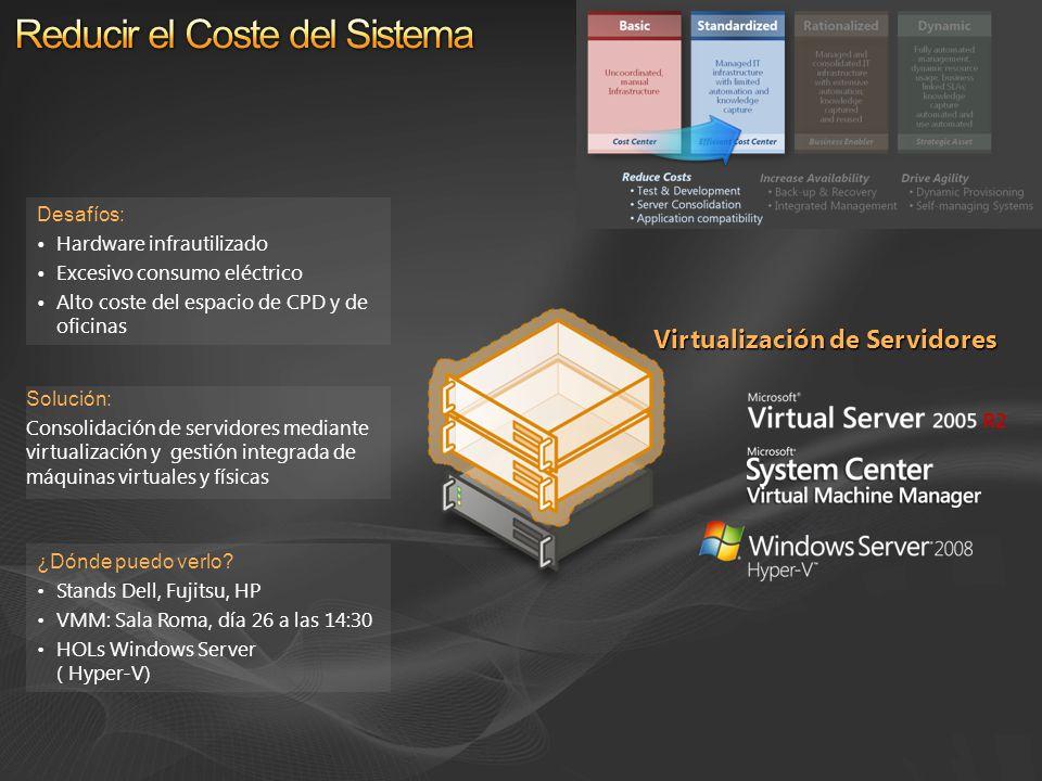 Solución: Consolidación de servidores mediante virtualización y gestión integrada de máquinas virtuales y físicas Desafíos: Hardware infrautilizado Ex