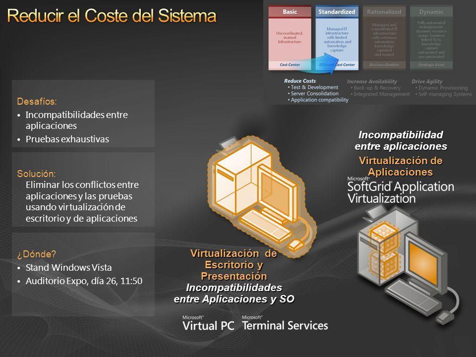 Solución: Eliminar los conflictos entre aplicaciones y las pruebas usando virtualización de escritorio y de aplicaciones Desafíos: Incompatibilidades