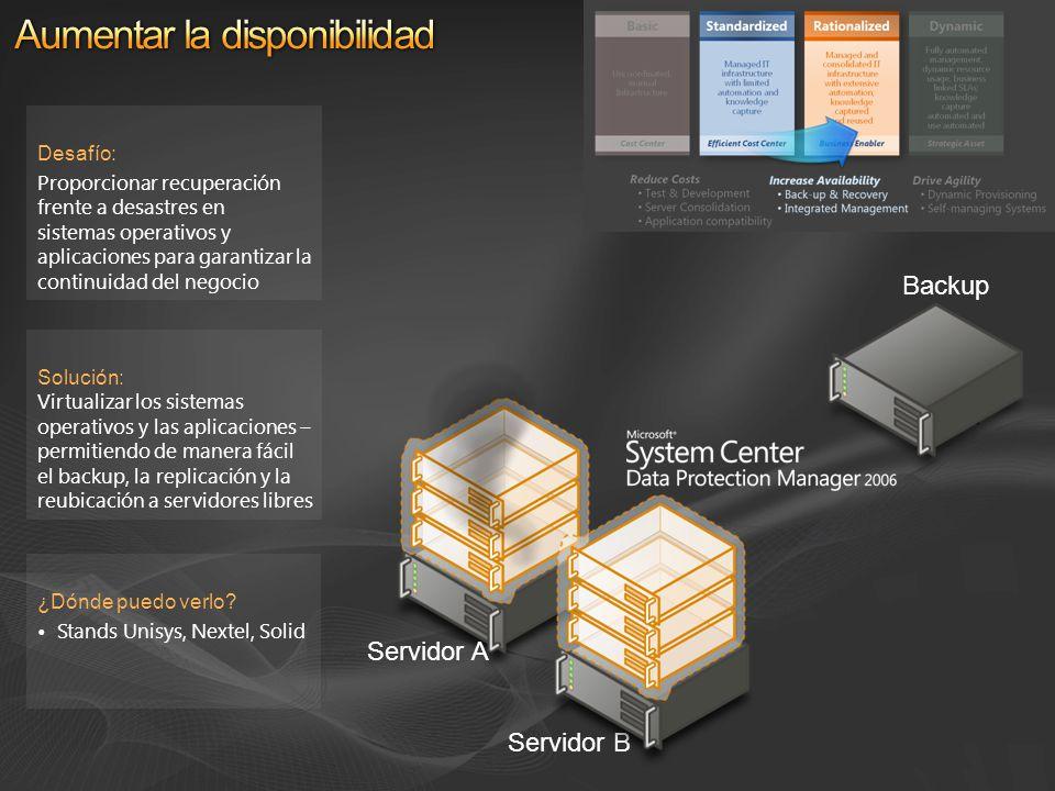 Solución: Virtualizar los sistemas operativos y las aplicaciones – permitiendo de manera fácil el backup, la replicación y la reubicación a servidores