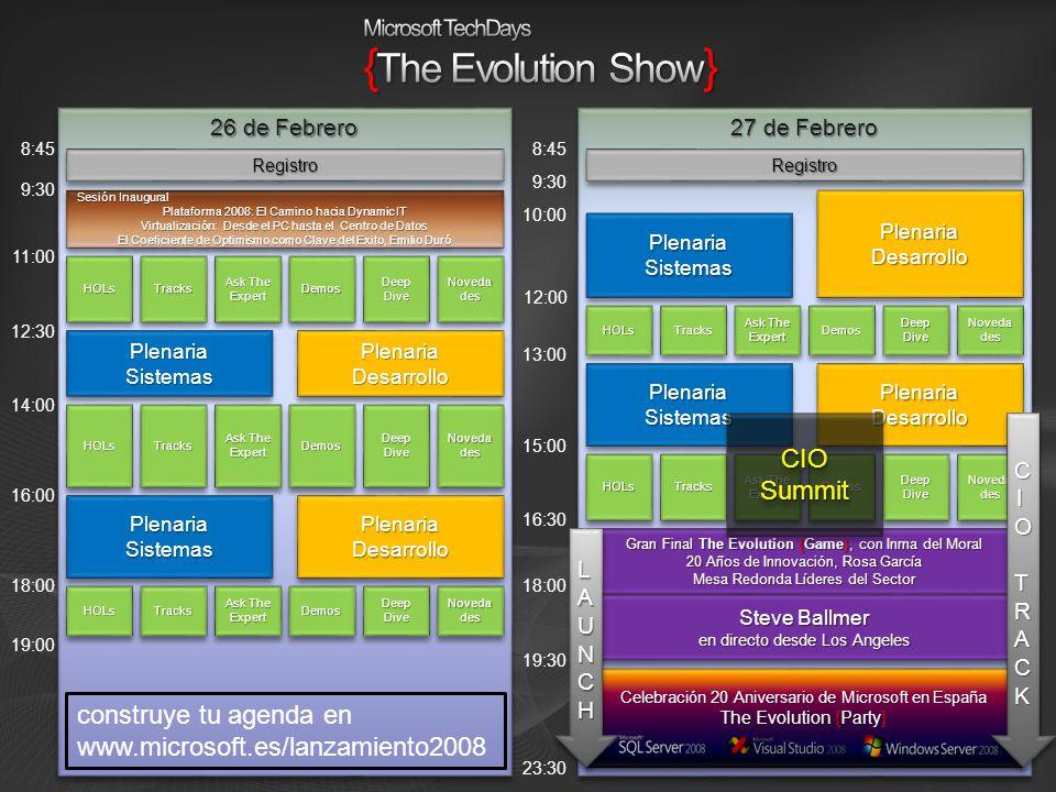 27 de Febrero 26 de Febrero Sesión Inaugural Plataforma 2008: El Camino hacia Dynamic IT Virtualización: Desde el PC hasta el Centro de Datos El Coefi