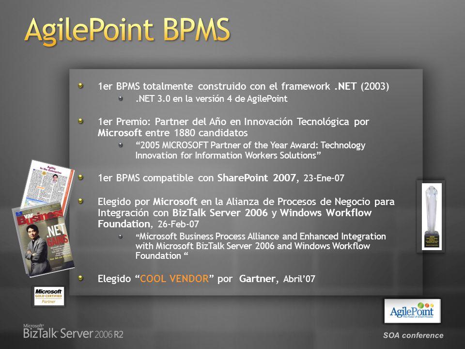 SOA conference 1er BPMS totalmente construido con el framework.NET (2003).NET 3.0 en la versión 4 de AgilePoint 1er Premio: Partner del Año en Innovac