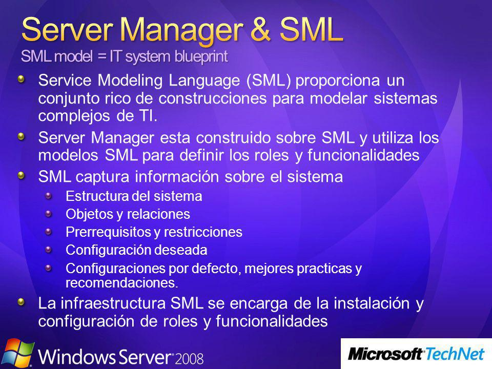 Service Modeling Language (SML) proporciona un conjunto rico de construcciones para modelar sistemas complejos de TI.