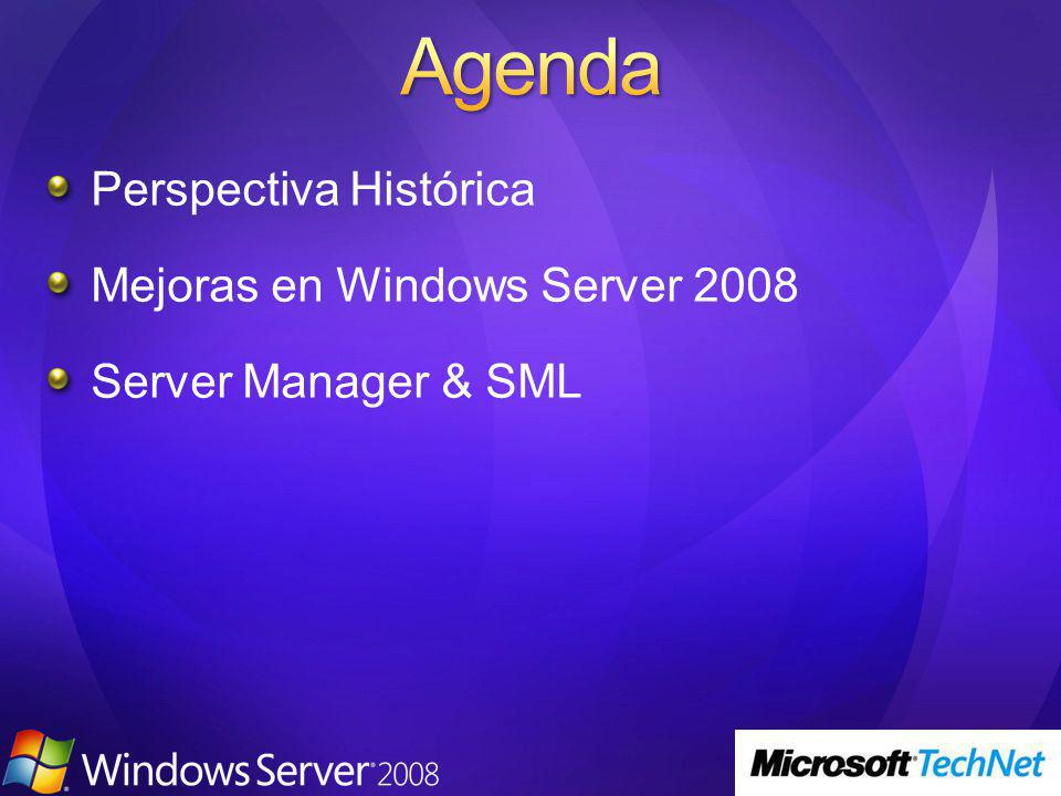 Perspectiva Histórica Mejoras en Windows Server 2008 Server Manager & SML