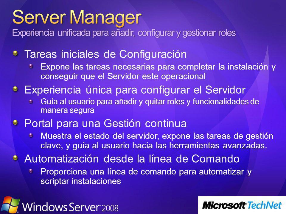Web Server IIS Management Tools Server Side Includes FTP Server ASP CGI Los roles estan securizados por defecto