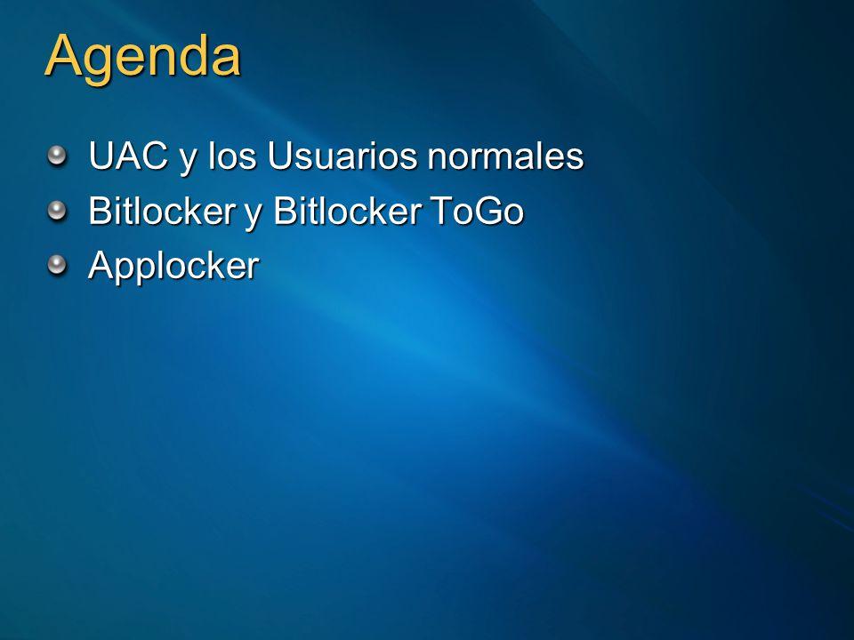 Agenda UAC y los Usuarios normales Bitlocker y Bitlocker ToGo Applocker
