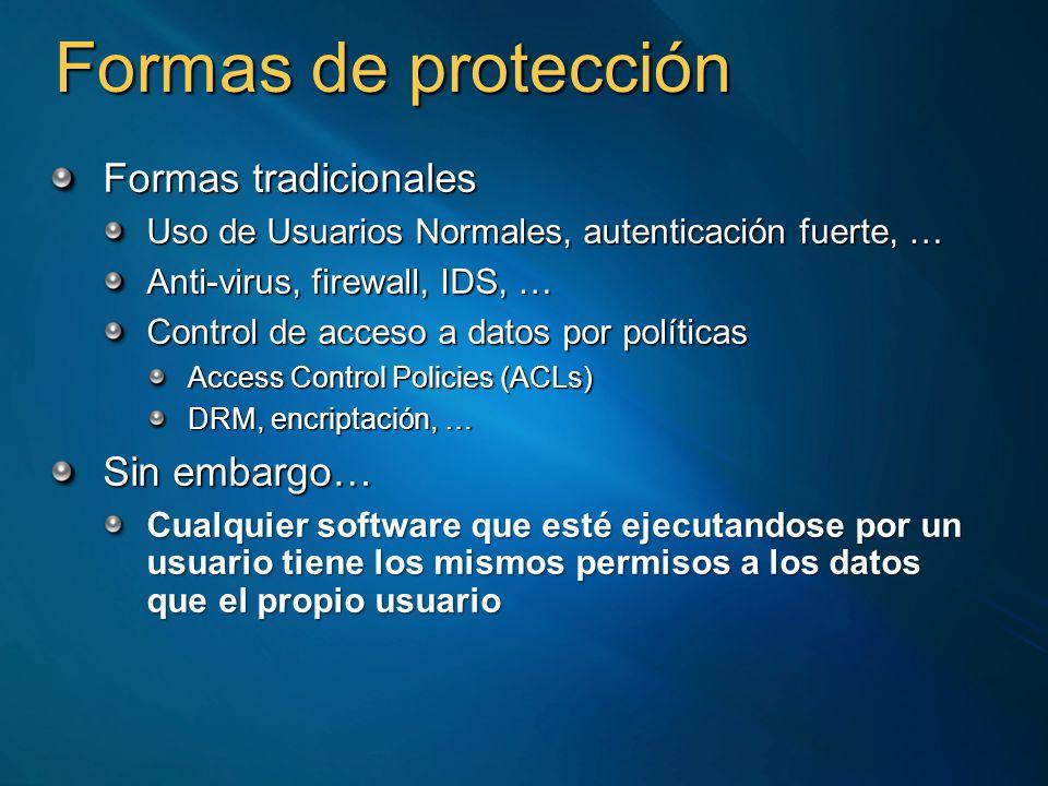 Formas de protección Formas tradicionales Uso de Usuarios Normales, autenticación fuerte, … Anti-virus, firewall, IDS, … Control de acceso a datos por políticas Access Control Policies (ACLs) DRM, encriptación, … Sin embargo… Cualquier software que esté ejecutandose por un usuario tiene los mismos permisos a los datos que el propio usuario